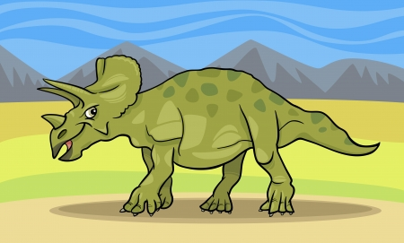 doomed: Cartoon Illustration of Triceratops Dinosaur Reptile Species in Prehistoric World