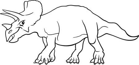 doomed: Cartoon Illustration of Triceratops Dinosaur Prehistoric Reptile Species for Coloring Book or Page Illustration