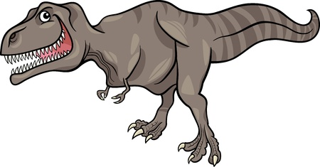 dinosaur cute: Cartoon Illustration of Tyrannosaurus Dinosaur Prehistoric Reptile Species