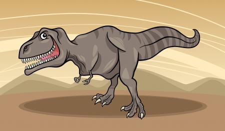 Cartoon Illustration of Tyrannosaurus Dinosaur Reptile Species in Prehistoric World Vector