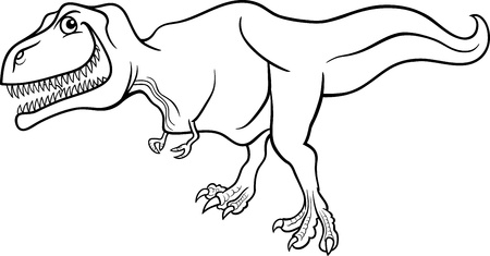 Cartoon Illustration of Tyrannosaurus Dinosaur Prehistoric Reptile Species for Coloring Book or Page Vector