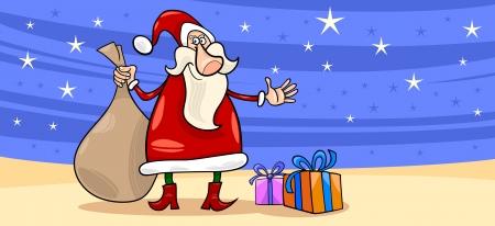 papa noel: Greeting Card Cartoon Illustration of Santa Claus or Papa Noel or Father Christmas with Christmas Presents and Stars Illustration