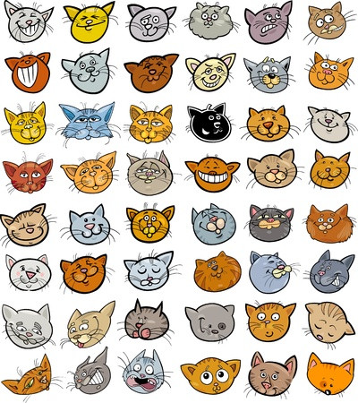 gray cat: Cartoon Illustration of Different Happy Cats ot Kittens Heads Big Collection Set