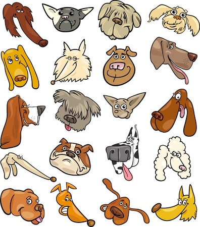 Cartoon Illustration of Different Happy Dogs Heads Big Collection Set Vector