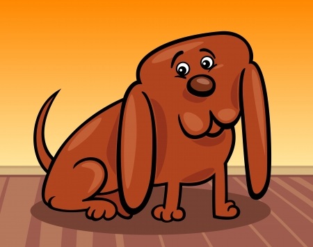 dog ears: Cartoon Illustration of Funny Little Dog with Huge Ears at Home Illustration