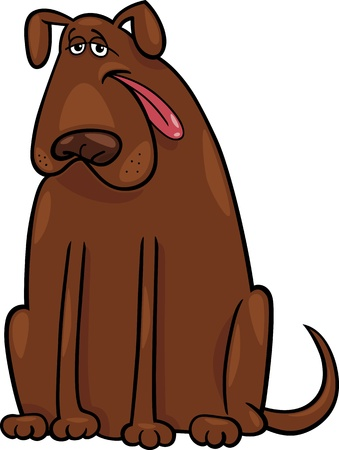 sit stay: Cartoon Illustration of Funny Big Brown Dog Illustration