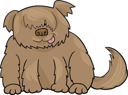 sheepdog: Cartoon Illustration of Funny Shaggy Sheepdog or Bobtail Dog
