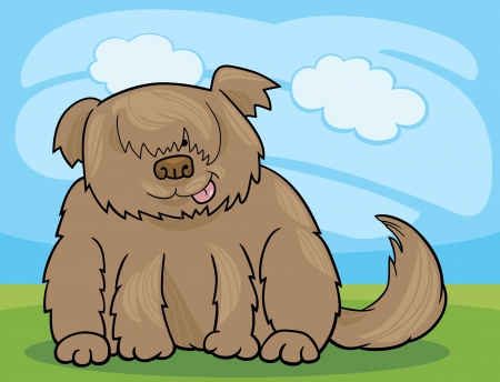 sit stay: Cartoon Illustration of Funny Shaggy Sheepdog or Bobtail Dog against Blue Sky with Clouds