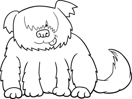sit stay: Cartoon Illustration of Funny Shaggy Sheepdog or Bobtail Dog for Coloring Book