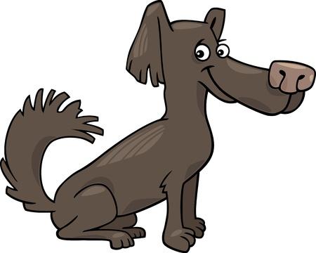 Cartoon Illustration of Funny Little Shaggy  Dark Brown Dog Stock Vector - 16789706