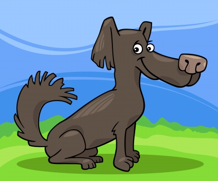 shaggy: Cartoon Illustration of Funny Little Shaggy Dog against Blue Sky and Green Grass