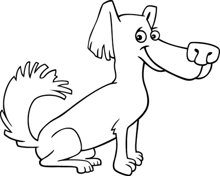 shaggy: Cartoon Illustration of Funny Little Shaggy Dog for Coloring Book or Page