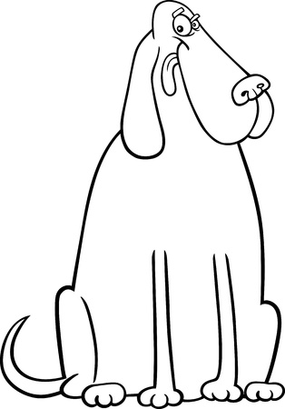 sit stay: Cartoon Illustration of Funny Big Dog for Coloring Book or Coloring Page