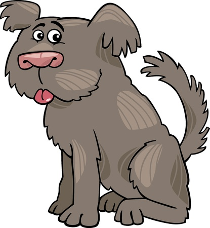sit stay: Cartoon Illustration of Funny Shaggy Sheepdog or Bobtail Dog
