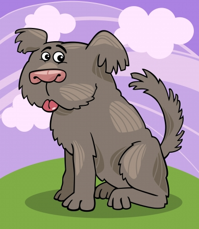 sit stay: Cartoon Illustration of Funny Shaggy Sheepdog or Bobtail Dog against Sky with Clouds Illustration
