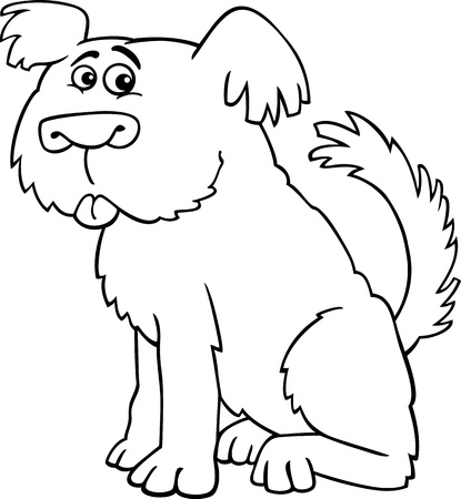 sheepdog: Cartoon Illustration of Funny Shaggy Sheepdog or Bobtail Dog for Coloring Book or Coloring Page