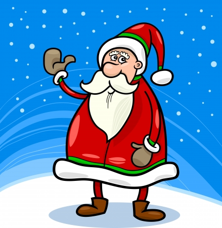Cartoon Illustration of Funny Santa Claus or Papa Noel or Father Christmas Stock Vector - 16789721