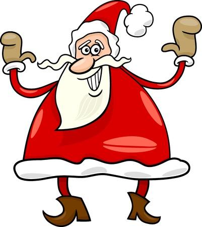 papa noel navidad: Ilustraci�n de dibujos animados de Funny Santa Claus o Pap� Noel o Pap� Noel Vectores