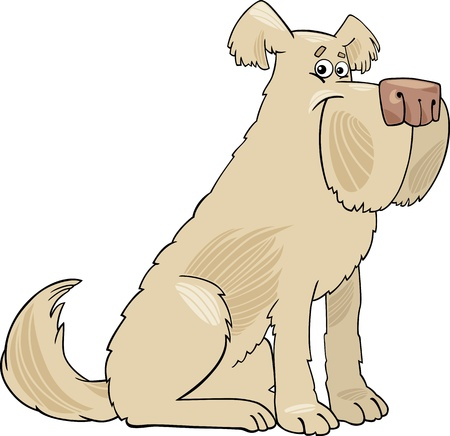 sheepdog: Cartoon Illustration of Funny Shaggy Beige Sheepdog Dog