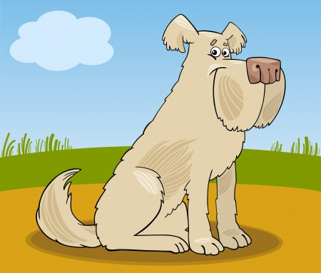 sit stay: Cartoon Illustration of Funny Shaggy Sheepdog Dog against Rural Scene Illustration