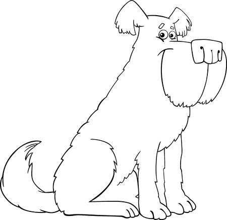 shaggy: Illustrazione del fumetto di Funny Dog Sheepdog Shaggy per Coloring Book o colorare