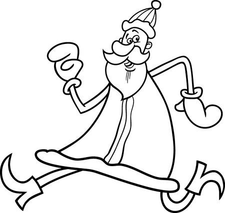 papa noel: Cartoon Illustration of Funny Running Santa Claus or Papa Noel or Father Christmas for Coloring Book