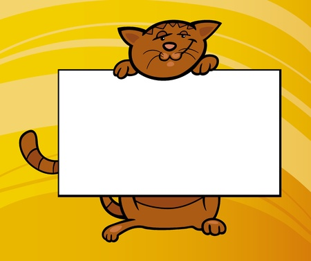 Cartoon Illustration of Funny Cat with White Card or Board Greeting or Business Card Design Vector