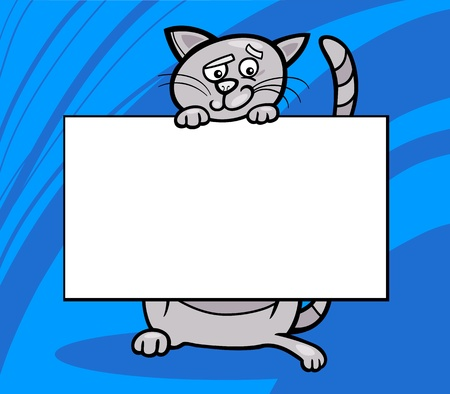 Cartoon Illustration of Funny Cat with White Card or Board Greeting or Business Card Design Stock Vector - 16789757