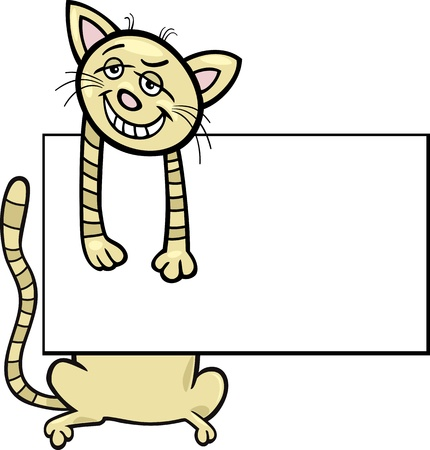 Cartoon Illustration of Funny Cat with White Card or Board Greeting or Business Card Design Isolated Stock Vector - 16789736