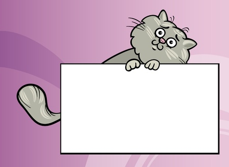 Cartoon Illustration of Funny Fluffy Cat with White Card or Board Greeting or Business Card Design Vector