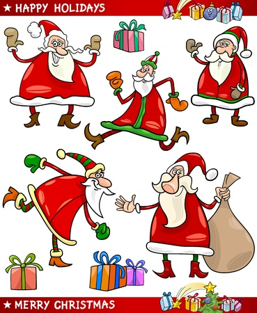 Cartoon Illustration of Santa Claus or Papa Noel, Presents, Gifts and other Christmas Themes set Stock Vector - 16789765