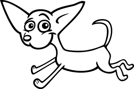 Cartoon Illustration of Funny Purebred Running Chihuahua Dog for Coloring Book or Coloring Page Stock Vector - 16855521