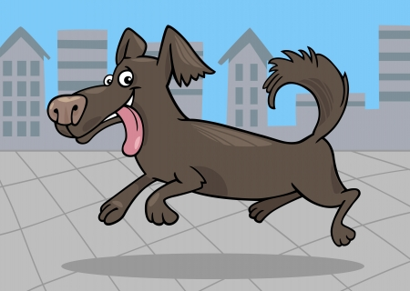 shaggy: Cartoon Illustration of Funny Little Running Shaggy Dog against Blue Sky and Urban Scene with City View
