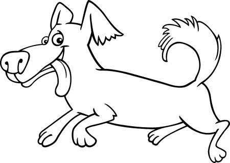 cartoon nose: Cartoon Illustration of Funny Little Running Shaggy Dog for Coloring Book or Coloring Page
