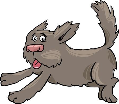 Cartoon Illustration of Funny Running Shaggy Dog Stock Vector - 16855530