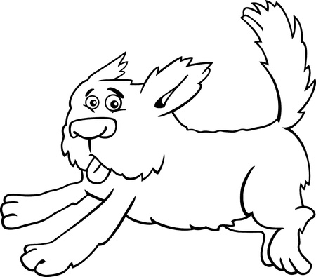 bobtail: Cartoon Illustration of Funny Running Shaggy Dog for Coloring Book or Coloring Page