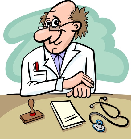 dr: Cartoon Illustration of Male Medical Doctor in Clinic Consulting Room with Stethoscope and Prescriptions