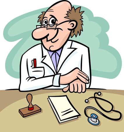 Ejemplo de la historieta de Male Medical Doctor en Clínica Sala Consulting con el estetoscopio y recetas