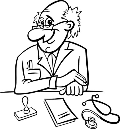 Black and White Cartoon Illustration of Male Medical Doctor in Clinic Consulting Room with Stethoscope and Prescriptions Vector
