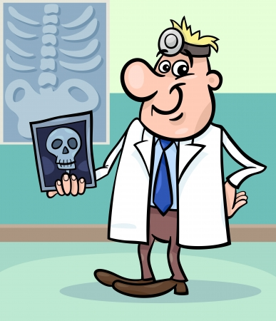 radiology: Cartoon Illustration of Male Medical Doctor in Hospital with X-ray Picture of Human Skull Illustration