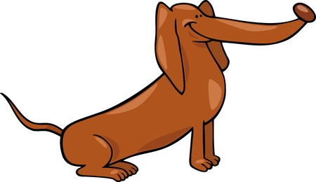 sit stay: Cartoon Illustration of Funny Sitting Dachshund Dog