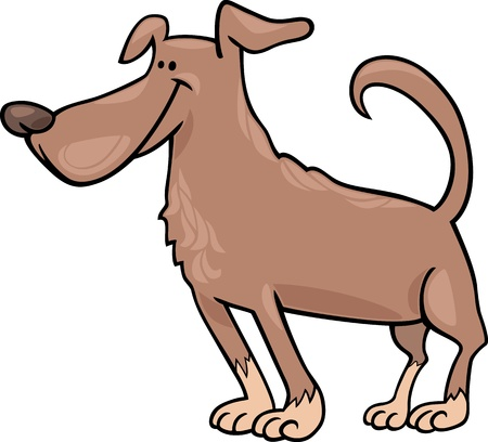 sit stay: Cartoon Illustration of Funny Standing Brown Dog