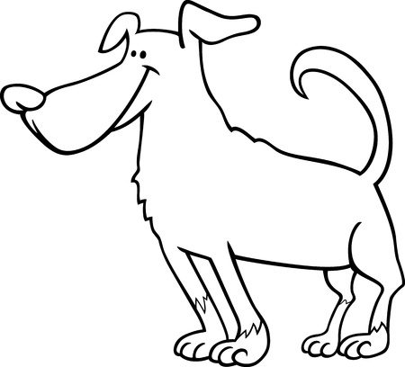 sit stay: Black and White Cartoon Illustration of Funny Standing Dog for Coloring Book or Coloring Page