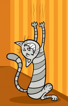 mouser: Cartoon Illustration of Funny Tabby Cat Scratching the Wall Illustration