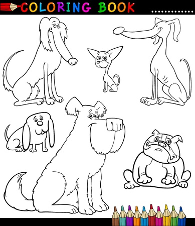 Coloring Book or Coloring Page Black and White Cartoon Illustration of Funny Purebred Dogs or Puppies Stock Vector - 16916977