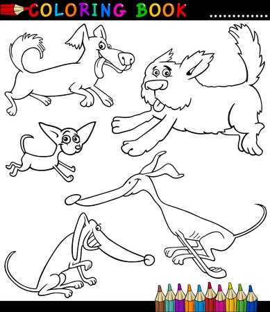 Coloring Book or Coloring Page Black and White Cartoon Illustration of Funny Playful Dogs or Puppies Vector