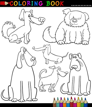 Coloring Book or Coloring Page Black and White Cartoon Illustration of Funny Purebred or Mongrel Dogs and Puppies