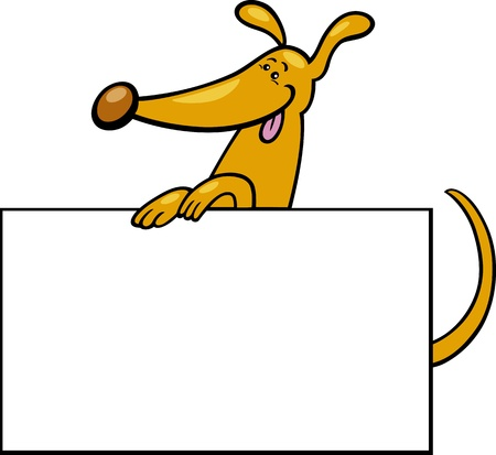 Cartoon Illustration of Funny Dog with White Card or Board Greeting or Business Card Design Vector
