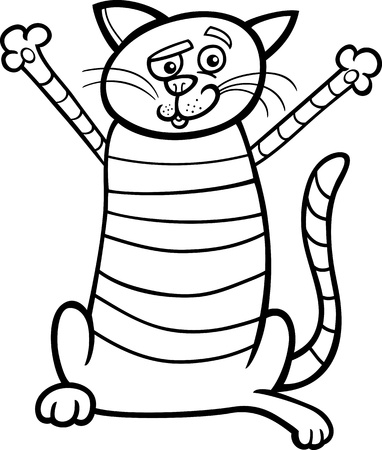 mouser: Black and White Cartoon Illustration of Happy Tabby Cat for Coloring Book