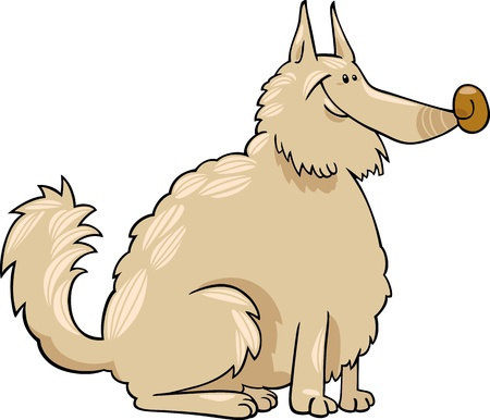 eskimo dog: Cartoon Illustration of Shaggy Purebred Eskimo Dog or Spitz or Sheepdog Illustration